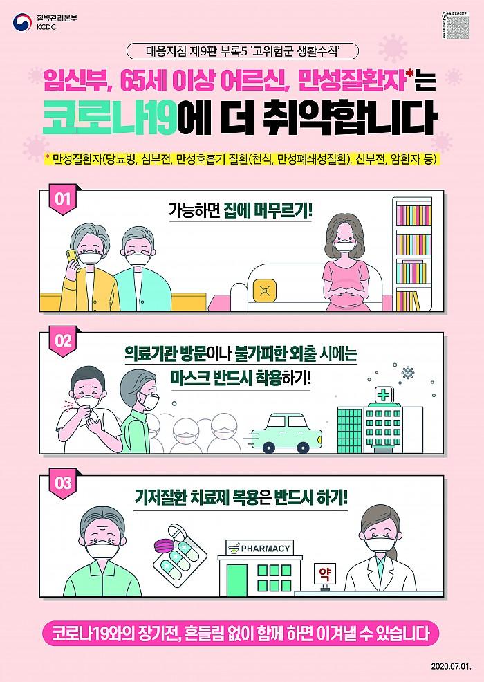 0701 [대응지침9판] 임신부, 65세 이상 어르신, 만성질환자는 코로나19에 더 취약합니다.jpg